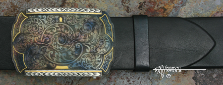 Engraved Steel Buckle w/Sterling Silver & Gold 'Color Case Classic'