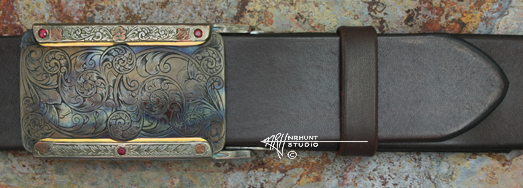 Custom Hand Engraved Shibuichi & Steel Trophy-Style Belt Buckle, 'Color Case Rubies' '2.sep15'