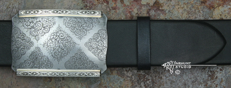 Engraved Silver & Steel 'Dos Equis' Buckle w/Gold