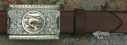 Engraved Silver 'Garland Creek' Buckle w/Gold
