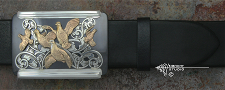 Engraved Silver & Shakudo Buckle w/Gold 'Shakudo Covey'