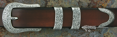 Hand Engraved Sterling Silver Ranger Buckle Set 'Old Scroll'