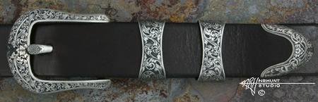 Engraved Silver Belt Buckle Set