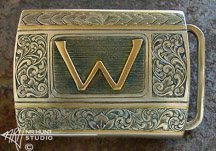 Engraved Silver Belt Buckle w/Gold