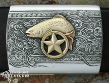 Engraved Sterling Silver Belt Buckle w/Gold