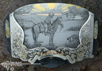Engraved Sterling Silver, Steel, & Gold Belt Buckle