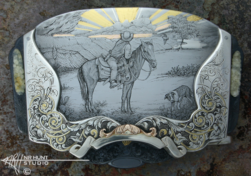 Custom Hand Engraved Sterling Silver, Steel, & Gold Belt Buckle