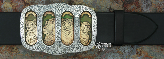 Custom Hand Engraved Sterling Silver Trophy-Style Belt Buckle w/Yellow Bronze, 'Endangered Asian Cats' '1.sep15'