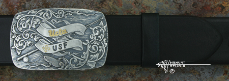 Custom Hand Engraved Silver Trophy-Style Belt Buckle 'CMC Graduation'
