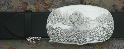Custom Handcrafted & Hand Engraved Sterling Silver Belt Buckle 'Diana'
