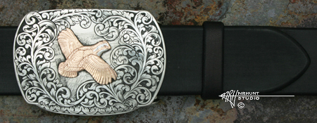 Engraved Silver & Gold Buckle 'Lone Quail'