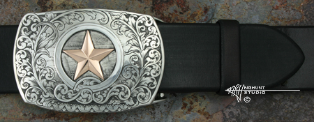 Engraved Silver & Gold Buckle 'Lone Star'