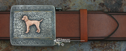 Custom Handcrafted & Hand Engraved Sterling Silver Belt Buckle w/Gold 'Willie'
