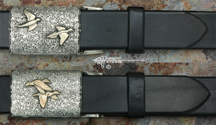 Engraved Silver 'Side-by-Side & Over-Under' Buckle w/Gold