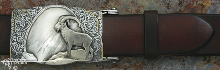 Engraved Silver, Gold & Platinum Buckle 'Snow-Line Ibex'
