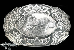 Engraved Trophy-Style silver buckle 'Buck & Marty' '2.oct04'
