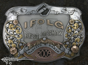 Engraved Silver & Gold Trophy Belt Buckle w/Diamonds