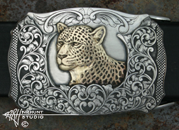 Engraved Silver Trophy-Style Belt Buckle w/Brass