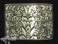 Engraved silver trophy-style buckle '3.nov01'
