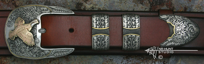Sterling Silver 4-piece Ranger Belt Buckle Set, 'Solitary Quail' w/Gold