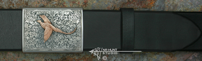 Silver Channel Buckle 'Renaissance' w/14K Pheasant - Wings Out