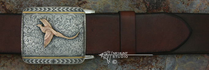 Sterling Silver Trophy-Style Belt Buckle 'Renaissance' w/14K Pheasant - Wings Out, Hand Engraving & 24K Line-Inlay