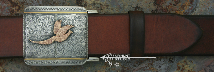 Sterling Silver Trophy-Style Belt Buckle 'Renaissance' w/14K Pheasant - Wings Up, Hand Engraving & 24K Line-Inlay
