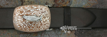 Hand-Crafted Sterling Silver & Mokume-gane Trophy-Style Belt Buckle 'Silver Trout'