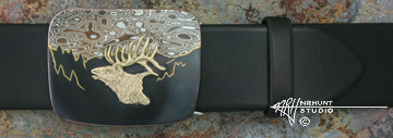 Hand-Crafted Sterling Silver, Shakudo, & Mokume-gane Trophy-Style Belt Buckle w/Gold 'Early Morning Bugle'