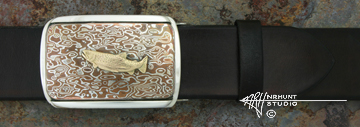 Hand-Crafted Sterling Silver & Mokume-gane Trophy-Style Belt Buckle w/Gold 'Big River Trout'