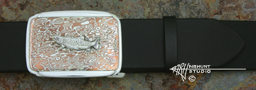 Hand-Crafted Sterling Silver & Mokume-gane Trophy-Style Belt Buckle 'Big River Trout II'