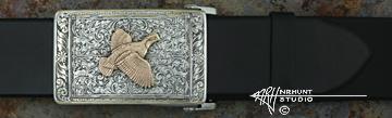 Sterling Silver Trophy-Style Belt Buckle 'Renaissance - Bordered Quail II'